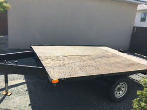 "8'4"" x 10' double wide trailer with pull out store away ramp"