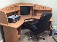 Computer desk with chair and printer
