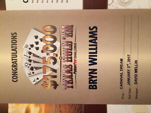170,000$ Carnival Dream cruise Texas Hold'em ticket(750$USD)