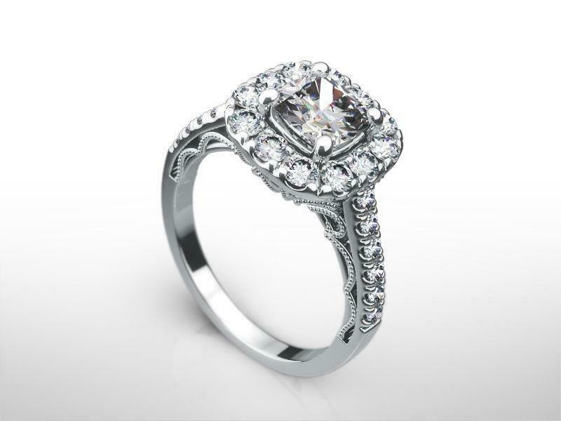 Halo Setting Diamond Ring 1.9 Carats Real 14 Kt White Gold Size 4.5 6 7.5 9