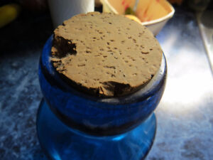 Blue Glass Jar with Cork Cover