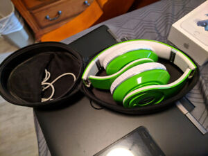 GREEN Lime Studio Wired Headphones Beats Dr-Dre With Case $100