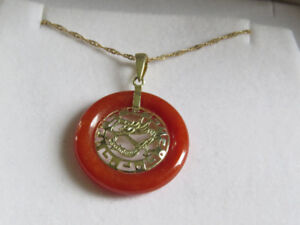 Red Jade and Dragon pendant