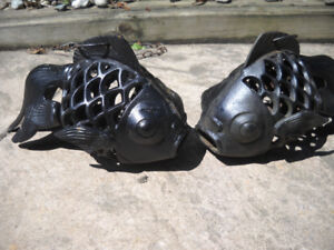 PAIR OF CAST IRON HANGING FISH  VERY COLLECTIBLE