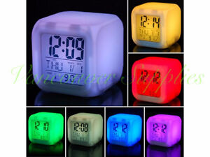 7 Color Change Night Light Digital Alarm Thermometer Clock Date