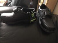 Black coated leather school shoes