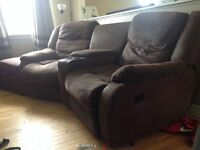 Used leather couch recliners and ottoman