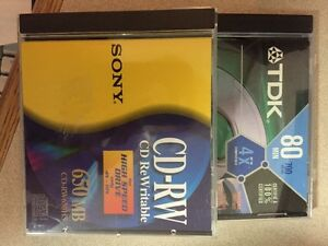 69 Assorted TDK & Sony CD Rewriteable Discs in Cases- Used once