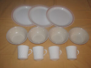 Corelle Dishes and 3 Stainless Steel Pots