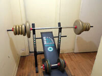 weight bench, dumbbell, weights