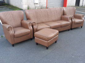 Retro Style Leather 3 Seater Sofa, 2 Chairs and Footstool