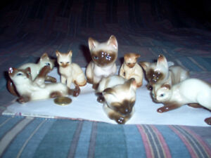 Porcelain Siamese Cat Figurines