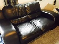 2 large leather two seater sofas