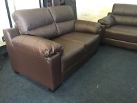 Brown leather 3 and 2 seater sofa set three plus two chocolate
