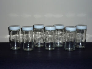 Spice Glass Jars with White Lids : 7 in total : as shown