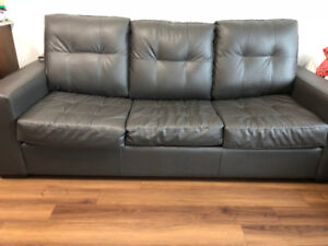Faux Leather Sofa with built in double bed - Less than 4months