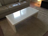IKEA rectangular white and glass coffee table