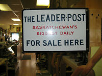 Leader Post Sign -- FROM PAST TIMES Antiques  - 1178 Albert St