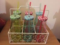 6 mutli coloured milk bottles