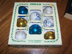 Box Of Vintage Glass Christmas Ornaments
