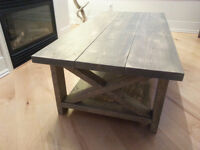 New Large Solid Wood Weatherd Gray Coffee Table