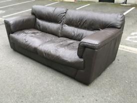 Large Dark Brown Leather 3 Seater Sofa