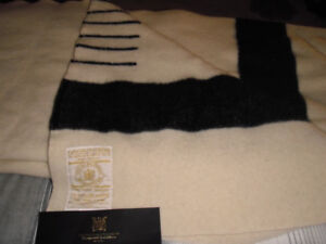 Beautiful Queen Size Hudson's Bay 6 Point 100% Wool Blanket.