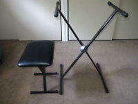 Folding keyboard stand and stool