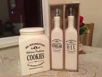 Cookies jar and vinegar and oil dispenser