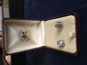 Vintage brutalist style earrings set in sterling silver