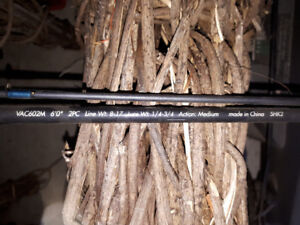 6' Quantum Baitcast fishing rod and reel with 30 lbs braid on it