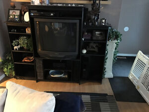 "Large Black Entertainment Unit with 36"" Sony TV"