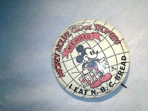 VINTAGE 1937 Mickey Mouse Globe Trotters PIN N.B.C Bread