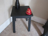 PAIR OF BLACK WOODEN SIDE/END TABLES-STURDY-USED BUT USABLE