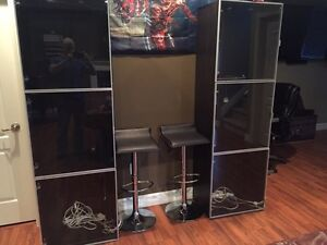 Display cabinets with lighting on each shelf