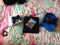 Ps4 for sale with wireless PlayStation headset & brand new scuff controller