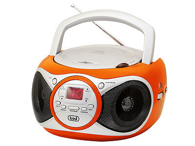 Trevi Portable Stereo Boombox with CD  FM Radio & AUX-IN for MP3 Orange
