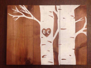 Custom painted wooden boards signs