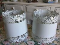 A PAIR OF WHITE METAL LAMPSHADES FROM JOHN LEWIS