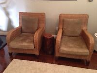 2 WOVEN (REAL RATTAN) chairs ex Africa !