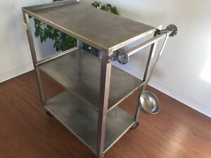 Stainless steel restaurant trolley with large stainless ladle