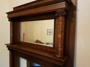 Antique quarter-sawn oak fireplace mantel