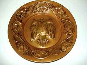 Russian DOUBLE HEADED EAGLE copper wall décor VINTAGE hand toole