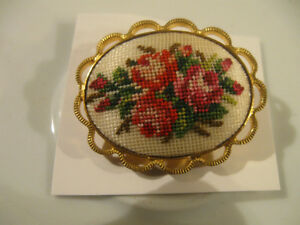 "OUTSTANDING LITTLE ""OLD FASHIONED"" NEEDLEWORK BROOCH ['60's]"