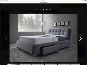 Havana King Bed Frame - limited stock light grey fabric Birkdale Redland Area Preview
