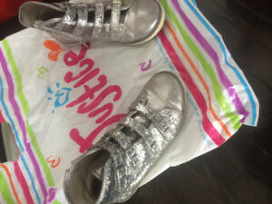 Sparkly silver justice shoes !!!
