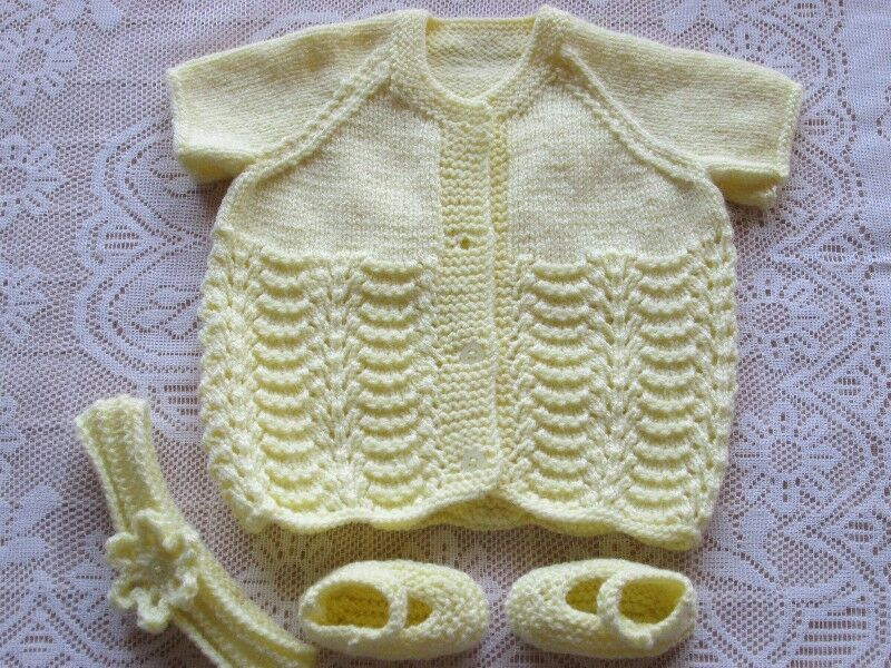 Hand knitted baby short sleeve Cardigan  Set