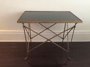 Brass and marble campaign table