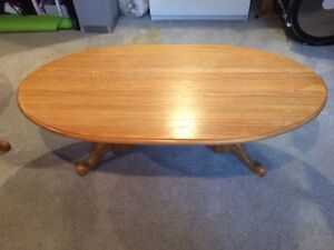 Solid oak coffee table and end table