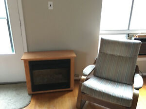 Couch, fire place, chairs
